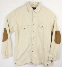 VTG Chaps Ralph Lauren Large Cream Button Up Shirt Elbow Patches Mountain Safari