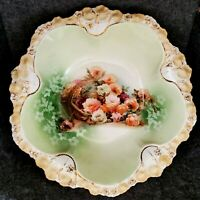 ANTIQUE RARE RS PRUSSIA CABINET BOWL GREEN WITH SPILLED BASKET OF CABBAGE ROSES