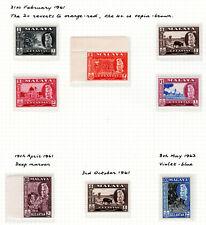 MALAYA STRAITS SETTLEMENTS 1961 KELANTAN SULTAN SELECTION OF MNH STAMPS