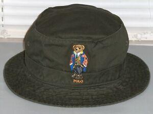 POLO RALPH LAUREN Men's ORANGE RAINCOAT BEAR Bucket Hat, Cap, Lid, OLIVE, nwt