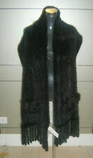 BRAND NEW KNITTED BLACK MINK FUR SCARF STOLE  WOMEN