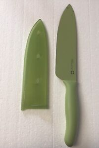 "Pampered Chef #1059 5"" Santoku Knife & Blade Cover Green Coated Retired"