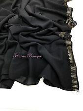 Elegant Chiffon Hijab 6 row gold crystal scarf wrap shawl occasion Party Eid