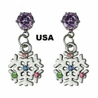 US Seller Betsey Johnson Crystal Flower Earrings Gold Silver Christmas snowflake