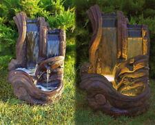 """37"""" Twin Falls Log Fountain - Outdoor Concrete Garden Water Fountain Water Fall"""