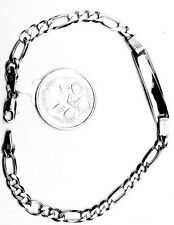 9ct White Gold ID Bracelet, Figaro 3:1 Link. Not Plated Or Filled. 5.2gms
