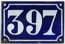 Old blue French house number 397 door gate plate plaque enamel metal sign c1900