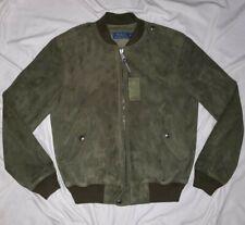 $795 Polo Ralph Lauren Green Suede Leather Bomber Flight Jacket Coat rrl M