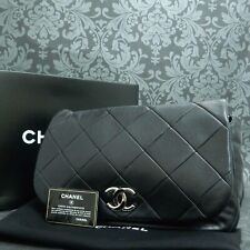 Rise-on CHANEL Matelasse Calf Skin Black Leather Handbag Shoulder Bag #2131