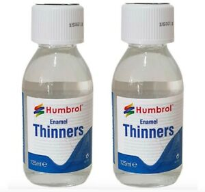 2X Humbrol AC7430 Thinners Enamel 125ml Thins Paint Cleans Brushes Safety Lids
