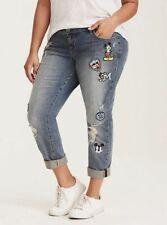 Disney Mickey Mouse Premium Boyfriend Jeans Med Wash w/ Patches Torrid Size 26R