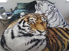 New! King Korean style Mink heavy weight blanket Tiger White Brown New 10 lbs