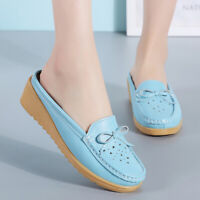 Ladies Genuine Leather Wedge Loafers Mules Backless Moccasins Casual Slider Shoe