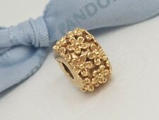 Authentic Pandora 'Mayflower' Clip 14k 14ct Gold Floral Charm 750507