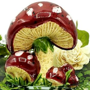 Vintage Mushrooms Toadstool Wall Art Funky 70s RED Spotted Kitsch [RV2