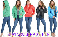 NEW WOMENS QUILTED COAT PUFFER HOODED LADIES JACKET PARKA SIZE 8 10 12 14 16 uk