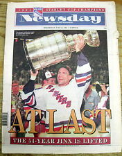1994 NY newspaper NEW YORK RANGERS WIN 1ST STANLEY CUP in 54 YEARS vs Vancouver