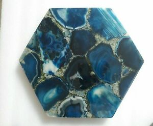 "12"" Blue Agate Table Top Handmade home room decor"