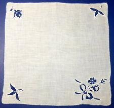 "Vintage 12"" Fine Cotton Handkerchief Blue Stamped & Embroidered Floral Motif"