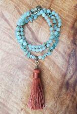 Mala Beads Green Aventurine Tumbled Gem Beads with Silk Copper Tassle Bronze