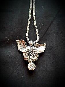 Balinese Sterling Silver/Zircon Gemstone Rose Flower Necklace (Tiffany Pandora)
