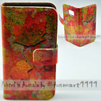 For Apple iPhone Series - Autumn Fall Print Wallet Mobile Phone Case Cover