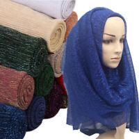 Wrinkled Women Hijabs Veil Gold Glitter Arab Muslim Scarfs Shiny Cosy Wrap Shawl