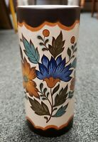 Mid 20th Century Dutch Flora Gouda Plateel Porcelain Cylindrical Vase