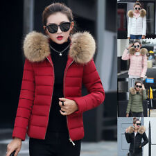 UK Women Lady Quilted Winter Coat Puffer Fur Collar Hooded Jacket Parka Down FL