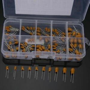 100pcs/set 10 Values Tantalum Capacitor 16V 1uf-100uf Assortment Kit