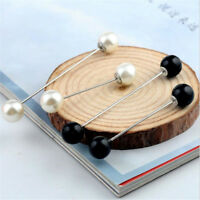 Practical Charm Double Pearl Stick Pin Scarf  Sweater Safety Pin Brooch Jewelry