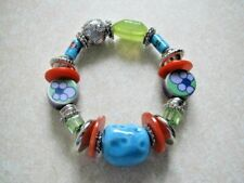 Retro Funky Fashion bracelet with ceramic beads, Very colourfull!