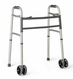 """Medline Heavy Duty Bariatric Folding Walker with 5"""" Wheels with Durable Plastic"""