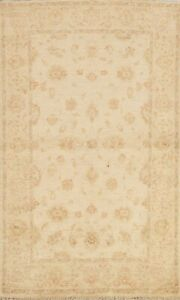 All-Over Floral Peshawar Oriental Area Rug Wool Hand-knotted Ivory Carpet 4'x6'