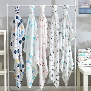100% Cotton Muslin Swaddle Blanket Baby Wrap Swaddle Newborn Pram Blanket