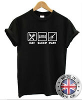 EAT SLEEP PLAY GUITAR T-SHIRT BASSIST GUITAR GUITARIST ROCK MUSIC MENS WOMENS