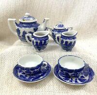 Antik Miniatur Tee-Set Teekanne Blau und Weiß Weide Muster China Krug Tasse
