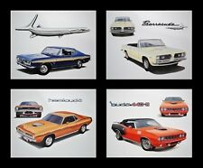 4 PLYMOUTH DEALER ART PRINTS - 1970 1971 - CUDA BARRACUDA - 198 225 318 340 383