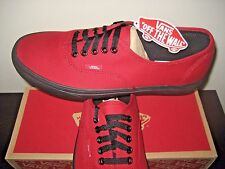 Vans Mens Authentic Black Sole Jester Red Canvas Skate Boat shoes Size 10.5 NWT