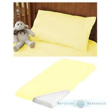 Draps-housses jaunes pour le lit en 100% coton