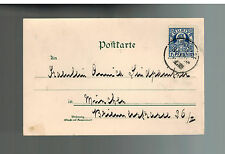 1898 Munich Germany Private Stadt Post postcard Cover Local issue