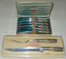 GORGEOUS FANCY VINTAGE CARVEL HALL BY BRIDDELL STEAK KNIFE CUTLERY CARVING SET