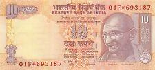 India 10 Rupees  2011 Prefix 01F ** Replacement **  Uncirculated Banknote , G 1B