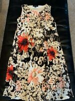PERCEPTIONS New York Multicolored Sleeveless Dress W/ Floral Design Size 4