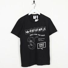 De Colección Adidas Originales Trébol logotipo Camiseta Camiseta Negro | Pequeño S