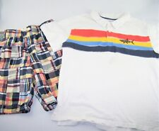 Boys GYMBOREE plaid patchwork shorts white shark polo t shirt 14 madras outfit