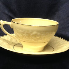 CROWN DUCAL GOLDEN GLAMOUR FOOTED CUP & SAUCER FLORENTINE SHAPE EMBOSSED FRUIT