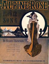ALPINE ROSE Music Sheet-1909-HARRY J. LINCOLN-Piano Solo-DITTMAR Pretty Lady