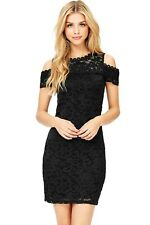 Ambiance Little Black Dress Lace Size Large Juniors FREE SHIP Cold Shoulder NWOT