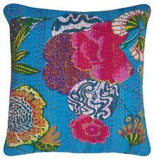 Floral Kantha Throw Pillow Handmade Indian Cotton Cushion Cover Ethnic Decor Art